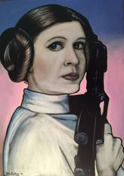 """Princess Leia"", ""Carrie Fisher"", ""actress"", ""The Empire Strikes Back"", ""Return of The Jedi"", ""The Force Awakens"",""Star Wars"", acrylic on canvas, by Fin Collins, part of The Film Icons Collection www.filmiconsgallery.com"