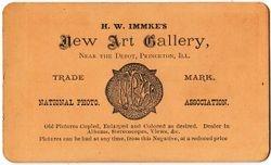 H. W. Immke, photographer of Princeton, IL - back