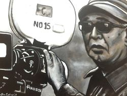 """Akira Kurosawa"" ""Iconic Director"", ""Seven Samurai"" acrylic on canvas, by Fin Collins, part of The Film Icons Collection www.filmiconsgallery.com,"