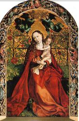 Martin Schongauer, Madonna of the Rose Garden, altarpiece of a small church in Colmar