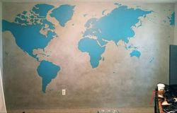 Old World Map Hand Painted Mural