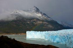 Perito Moreno glacier rainbow.