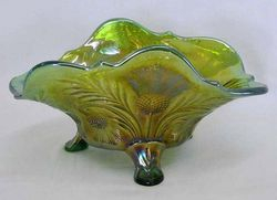 Inverted Thistle banana shoped bowl, green, Cambridge Glass USA,
