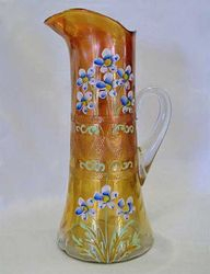 (Enameled) Forget-me-not with prism band tankard water pitcher, marigold, Fenton