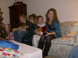 Danny and Marie and cousins, Christmas Eve