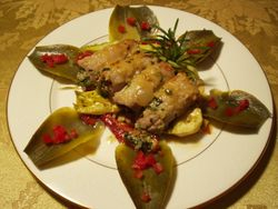Veal with Artichoke & Roasted Peppers