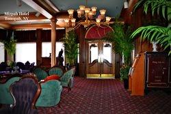 Interior of Mizpah hotel lobby.