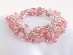 Cherry and Rose Quartz Wrapped Bracelet