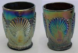 Beaded Shell tumblers, blue and purple