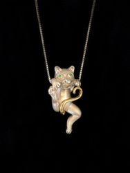 Sterling silver hanging kitty pendant