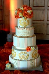 Ivory and Gold Wedding Cake