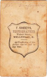 F. Sheets, photographer, of Wellsville, Ohio - back