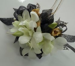 White Singapore Orchid with gold trim