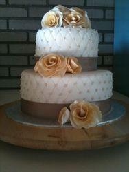 White & Gold Anniversary Cake