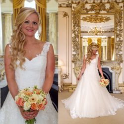Laura looks beautiful with long flowing curls for a glamorous wedding day look using Flip in Hair Extensions