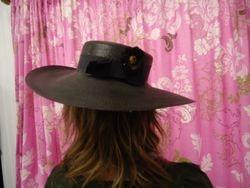 Vintage Black Classic Wide Brim Back View