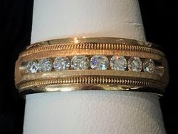 14k diamond channel set gentlemen's band