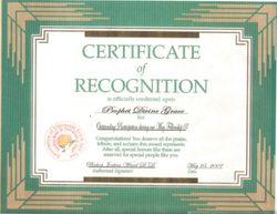 Ceritificate of Recognition