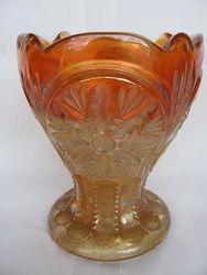 """signed """"Industria Argentina"""", Star vase, marigold, Cristalerias Papini"""