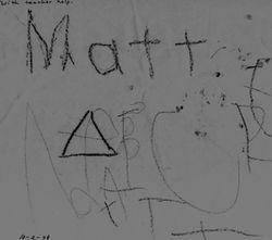 First time Matt writes his name