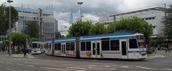 Duewag Low Floor Trams 3263 & 3266 in the cosmopolitan surroundings of Bismarckplatz