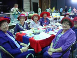 Red Hat ladies at the tea party.