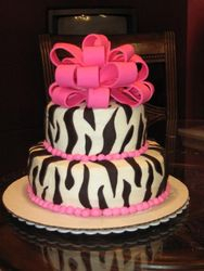 Zebra Mod Cake with Bow
