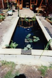 The finished pond with the capstones in place