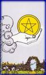 The Ace of Pentacles from Rider Waite pack