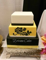 Yellow, Back and White wedding cake