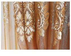 Gold Damask Embroidered Rod Pocket Sheer Curtains -96L