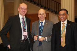 Mike Pinkerton (CEO Doncaster Royal Infirmary) with Mustafa Hattab and Shahed Quraishi