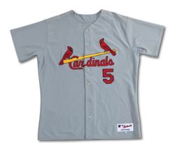 Cardinals Albert Pujols Game Used 2008 (MVP Year) Grey Road Jersey  With COA From Rob Steinmetz And Kerry Woods Foundation