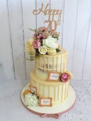 70th Birthday two tier drip cake