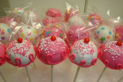 assorted pink a licious cake pops $3.75 each
