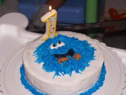 1st Bday Cookie Monster - Individual Cake (Smash Cake)