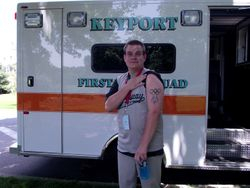 An athlete showing of his Special Olympics tattoo