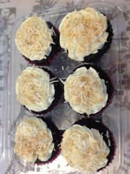 Jamaican Mocha Cupcake-chocolate cupcake flavored with espresso and coconut and frosted with coconut frosting