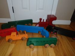 Day Care Quality Large Wood Trucks, Train and Buses - $70