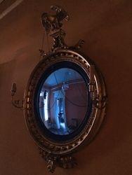 Federal style convex girandole mirror