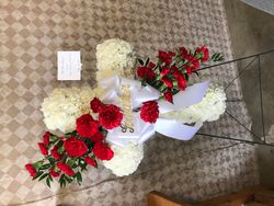 Cross Spray with Red Roses
