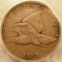 1857 Flying Eagle Cent Clipped Planchet