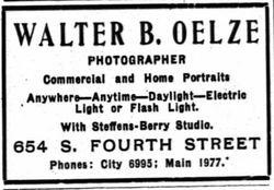 Walter B. Oelze, photographer, Louisvile, Kentucky