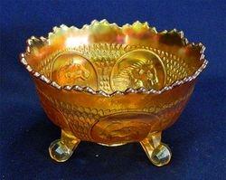 Horse Medallion ftd nut bowl, marigold
