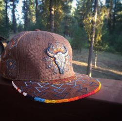 Beaded buffalo hat