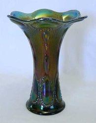 "Beaded Bullseye, 7"" emerald green vase"