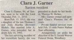 Garner, Clara J. Hickes 2010