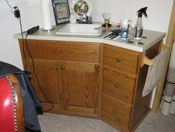 Oak barbershop vanity and storage