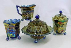 Butterfly and Berry 4 pc. table set, blue