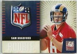 SAM BRADFORD 2010 ELITE ROOKIE NFL LOGO ROOKIE CARD 8/999 JERSEY#